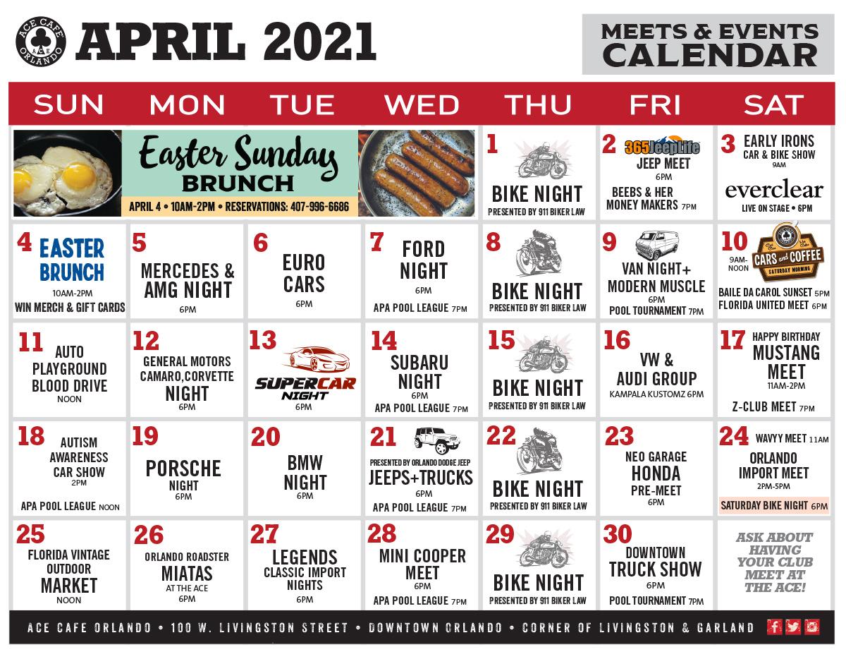 Ace Cafe April 2021 Calendar
