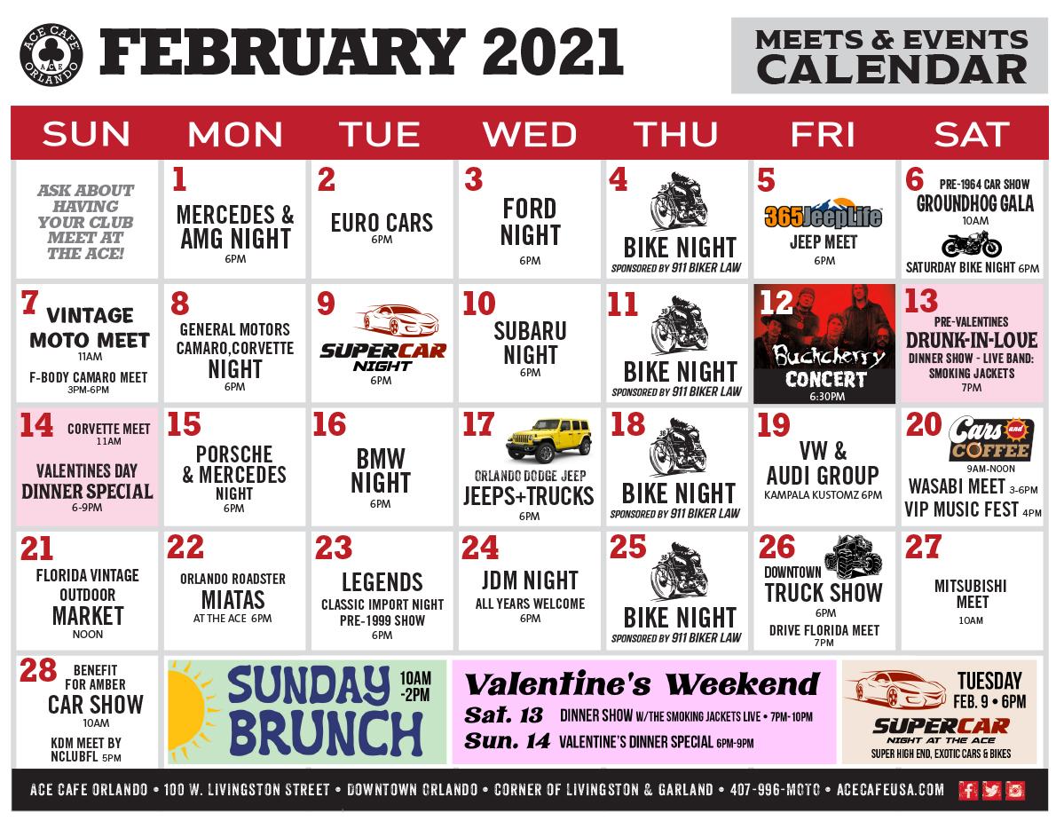 Ace Cafe February 2021 Calendar