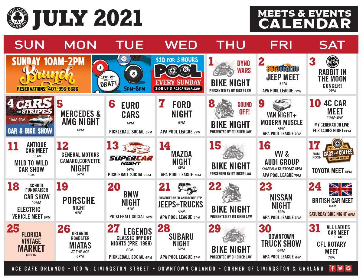 Ace Cafe July 2021 Calendar