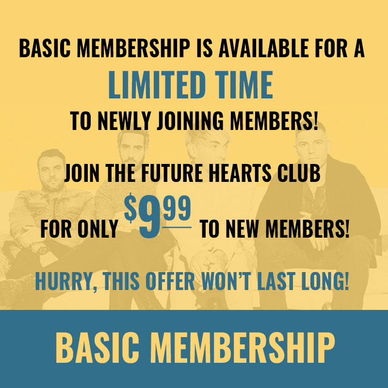 image of the basic membership featuring the band members and blue type