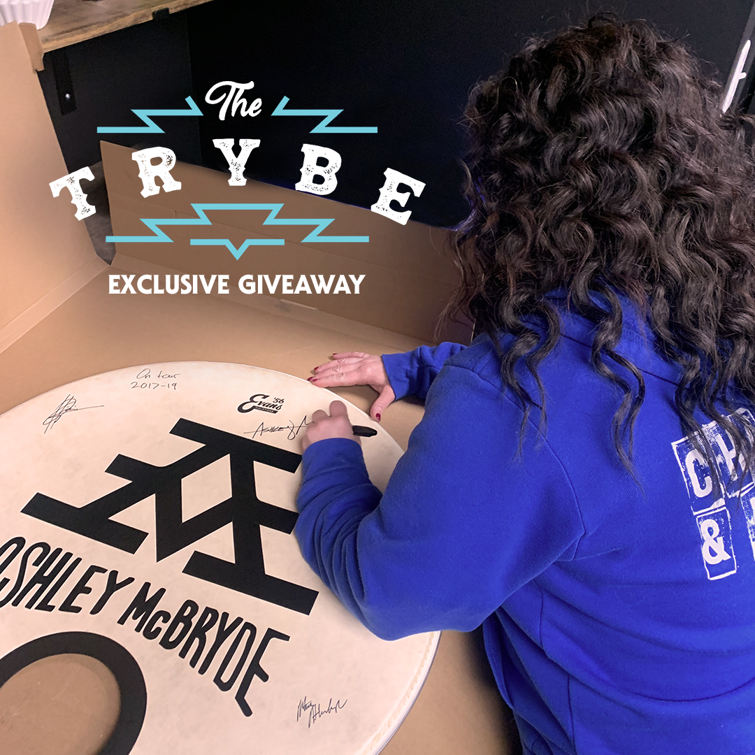 Trybe Exclusive Giveaway - Autographed Ashley McBryde Drumhead