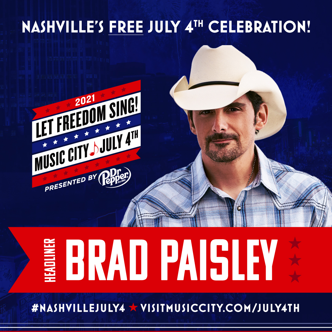 Country Music Superstar Brad Paisley to Headline Nashville's July 4th From Lower Broadway
