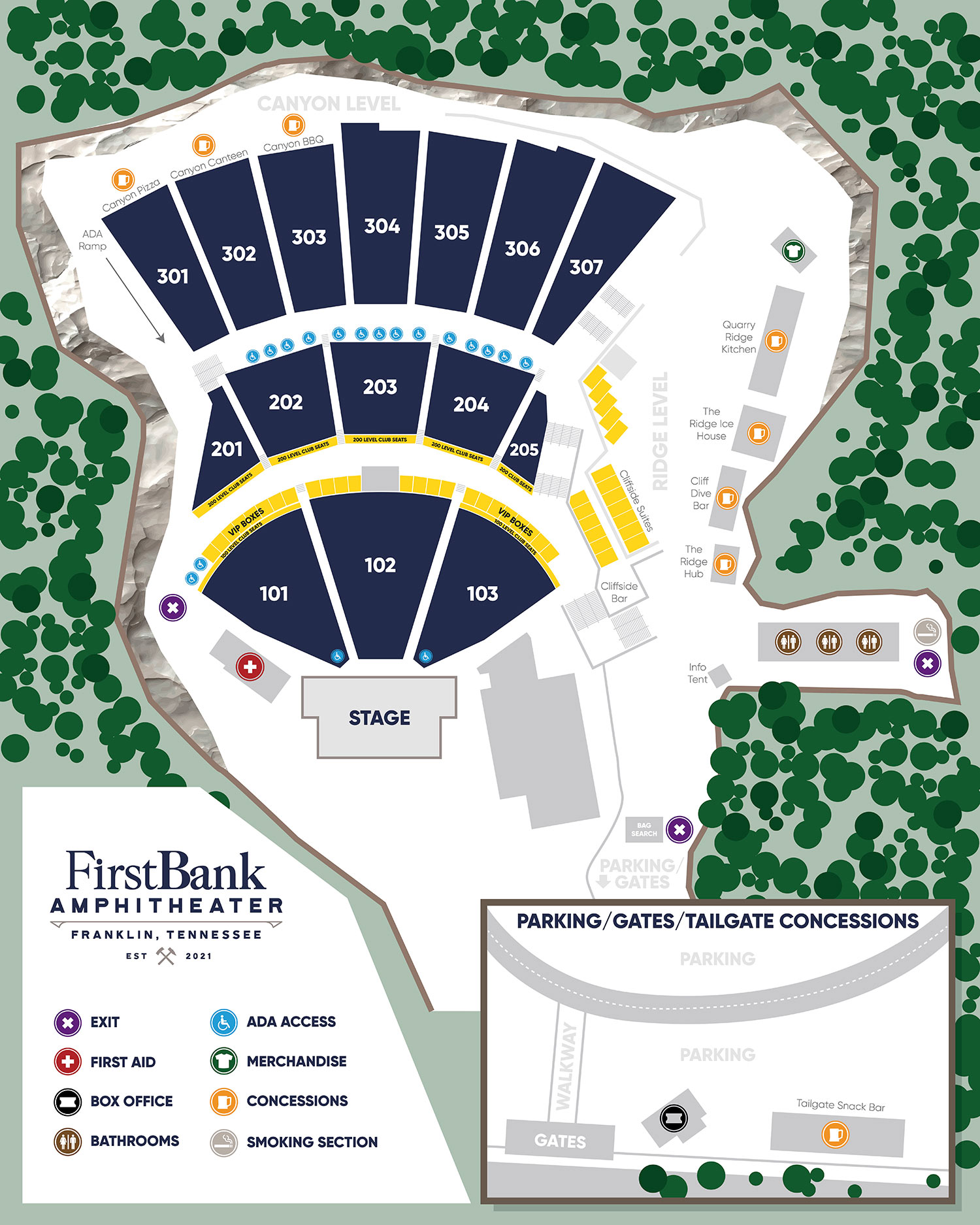 image of amphitheater seating map