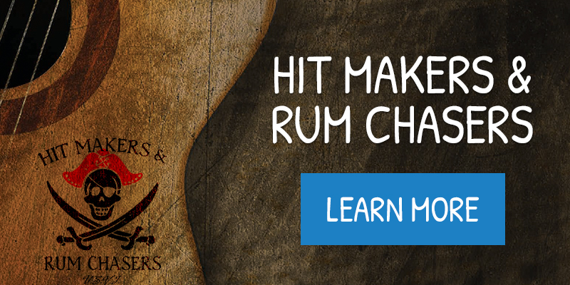 image of a promotional event 'Hit Makers and Rum Chasers' featuring a dark brown textured background with an acoustic guitar to the left with white text announcing the event