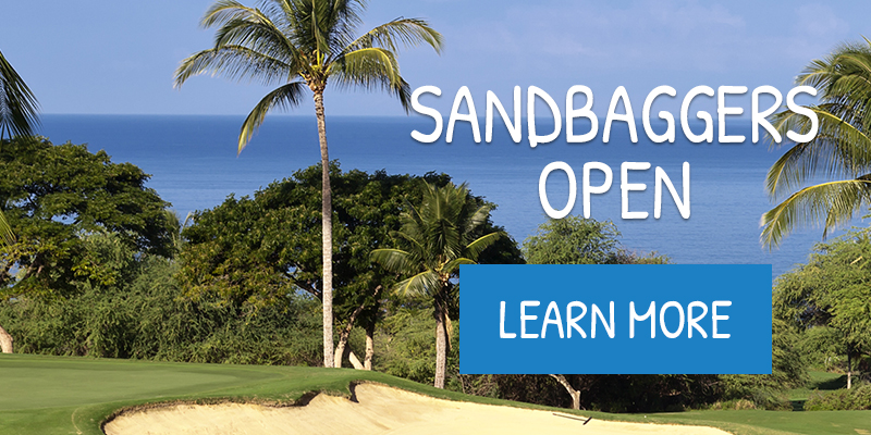 image of a promotional event 'Sandbaggers Open Golf Tourney' featuring a tropical landscape overlooking the ocean with a golf sand trap and palm trees waving in the coastal wind