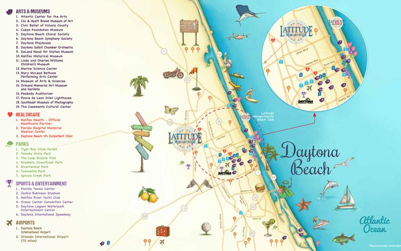 Map of Daytona Beach Latitude Margariaville, amenities and community map of housing