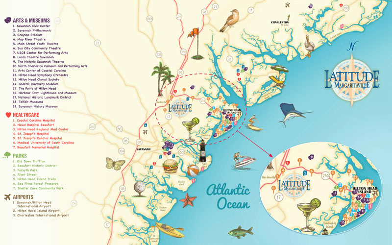 Map of Hilton Head Latitude Margariaville, amenities and community map of housing