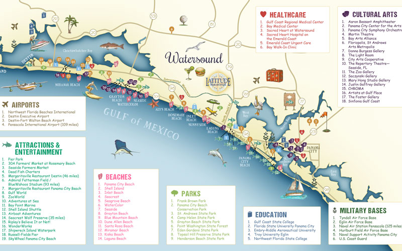 Map of Latitude Margariaville Watersound, amenities and community map of housing