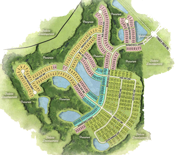 Latitude Margaritaville phase five site plan with arial layout of the Daytona Beach development