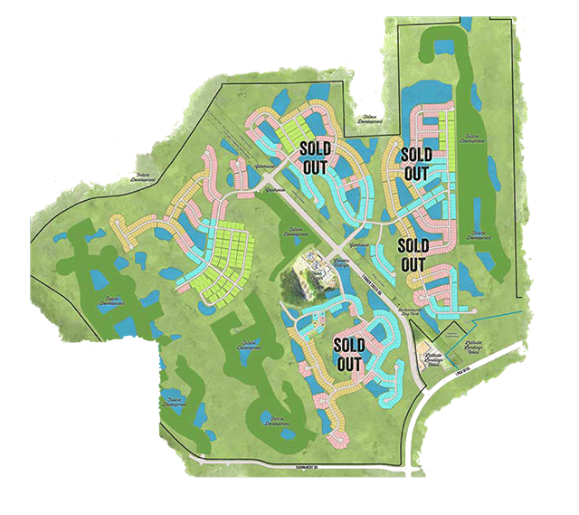 Latitude Margaritaville current homesite release displaying arieal view of property lakes, ponds and newly released area for new home development.