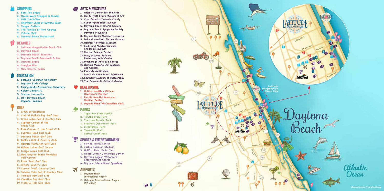 Latitude Margaritaville Daytona Beach Points of Interest Map