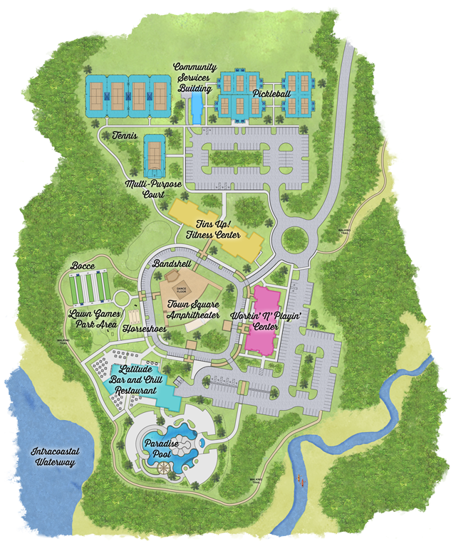 Town center amenity plan with houses, pool, tennis courts and greenery