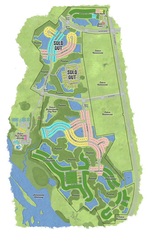 Latitude Margaritaville Watersound overall community siteplan displaying arieal view of property lakes, ponds and newly released area for new home development.