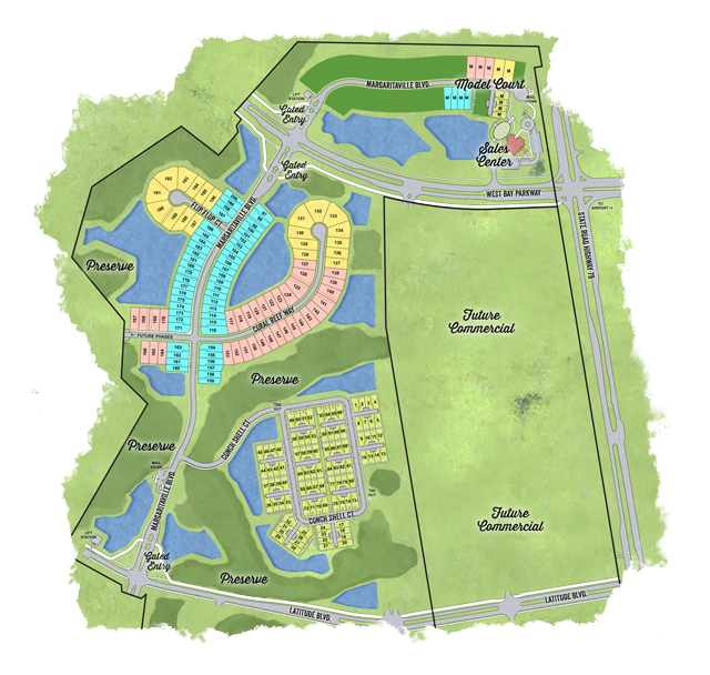 Latitude Margaritaville Watersound phase one/two site plan with arial layout of the Watersound development
