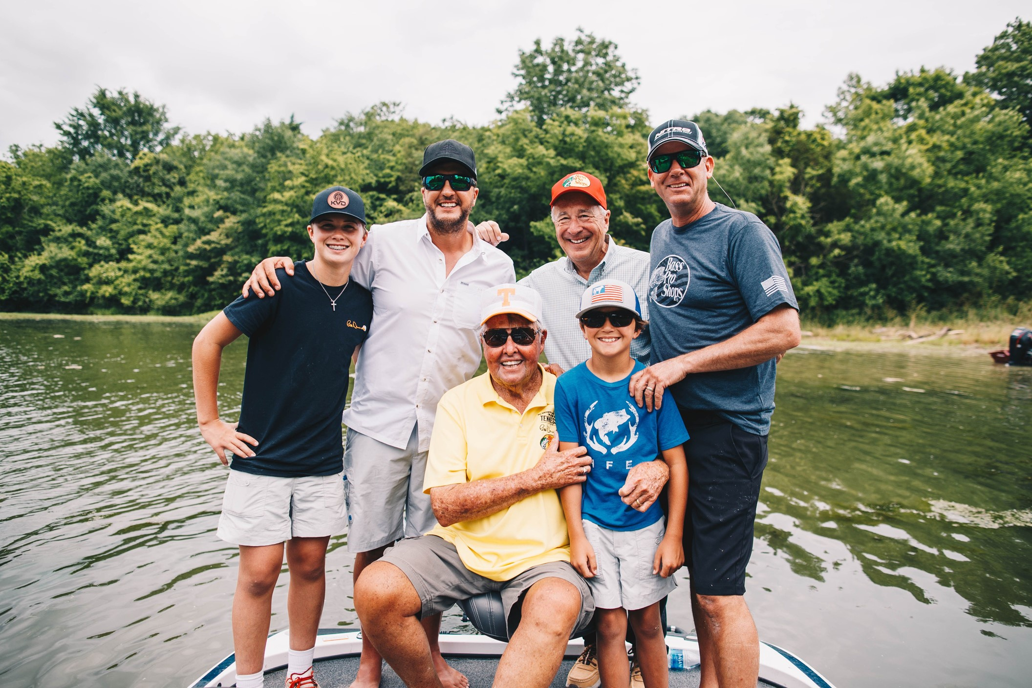 Backrow- Bo Bryan, Luke, Johnny Morris (Owner Bass Pro Shops), Kevin VanDam (Bass Fisherman Hall of Fame Inductee) Frontrow: Bill Dance, Tate Bryan