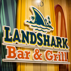 LandShark Bar and Grill Logo on wall