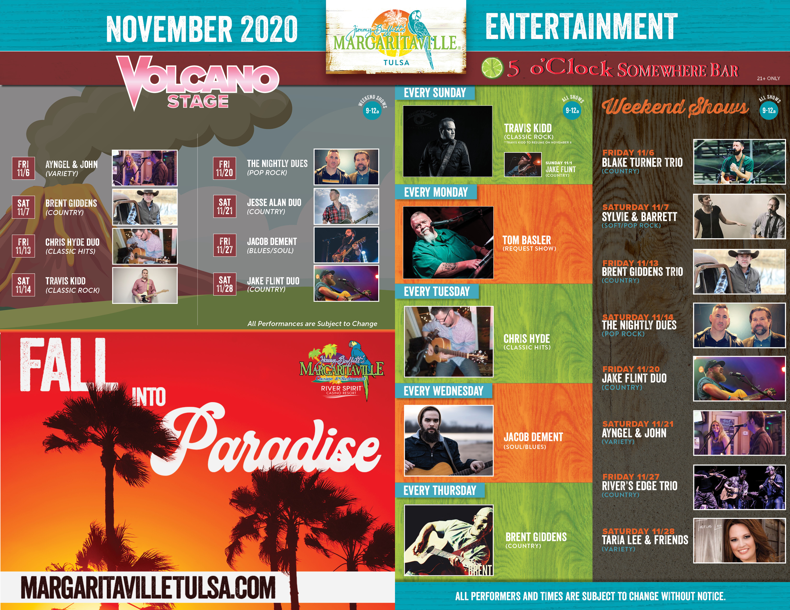 Margaritaville Tulsa November 2020 Calendar of Events. Visually impaired customers please call for assistance or read next tab
