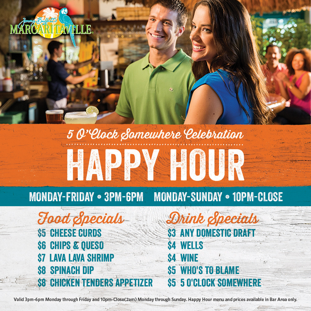 A image with a Happy hour Flyer. Visually impaired customers please call for assistance
