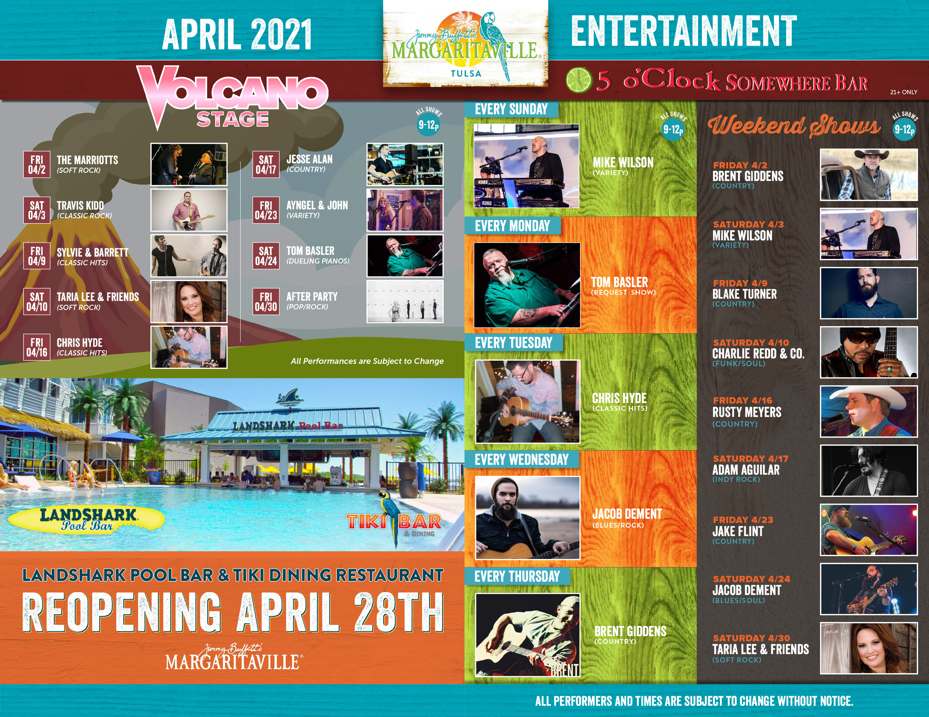 Margaritaville Tulsa April 2021 Calendar of Events. Visually impaired customers please call for assistance or read next tab