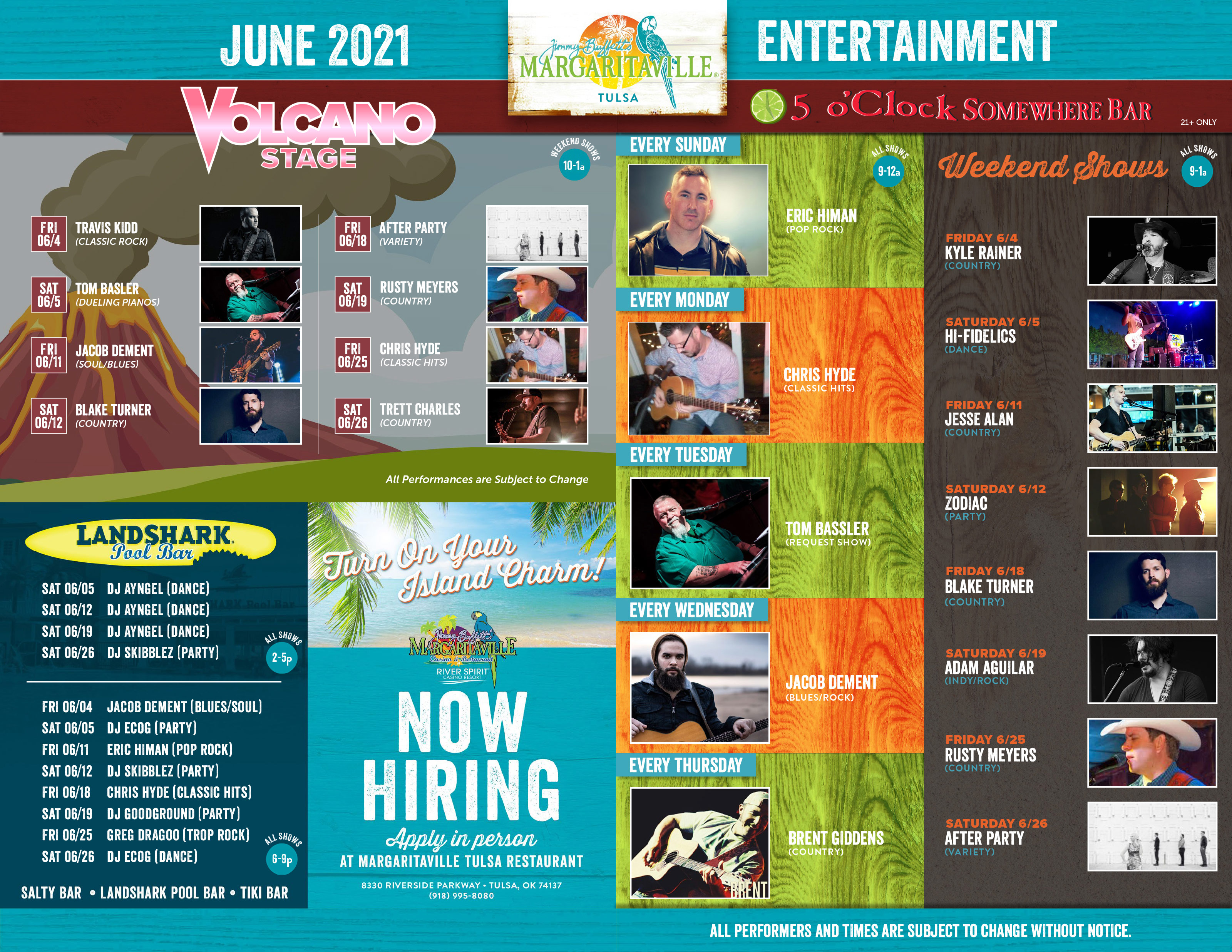 Margaritaville Tulsa June 2021 Calendar of Events. Visually impaired customers please call for assistance or read next tab