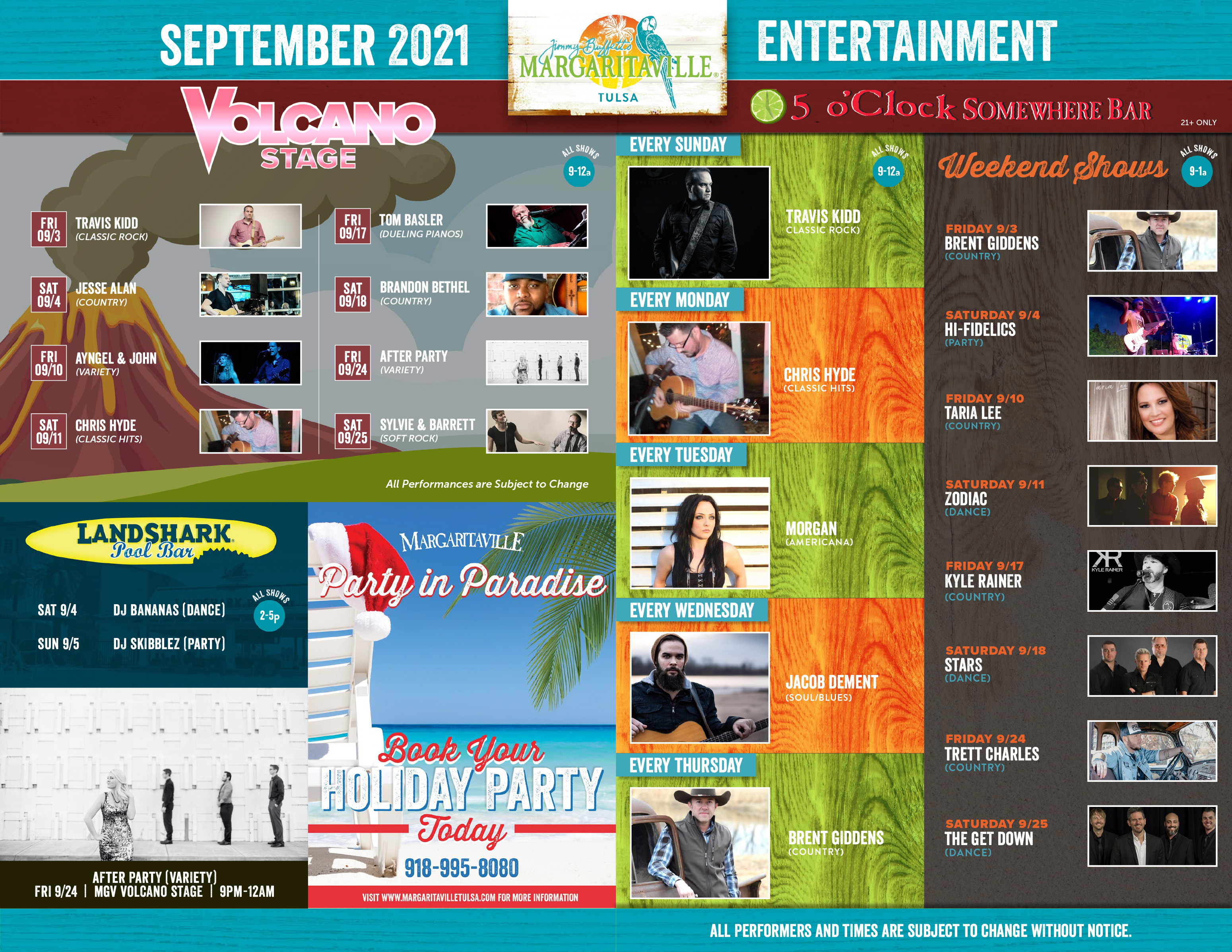Margaritaville Tulsa September 2021 Calendar of Events. Visually impaired customers please call for assistance or read next tab