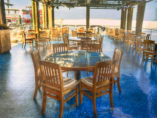 Restaurant interior with large windows