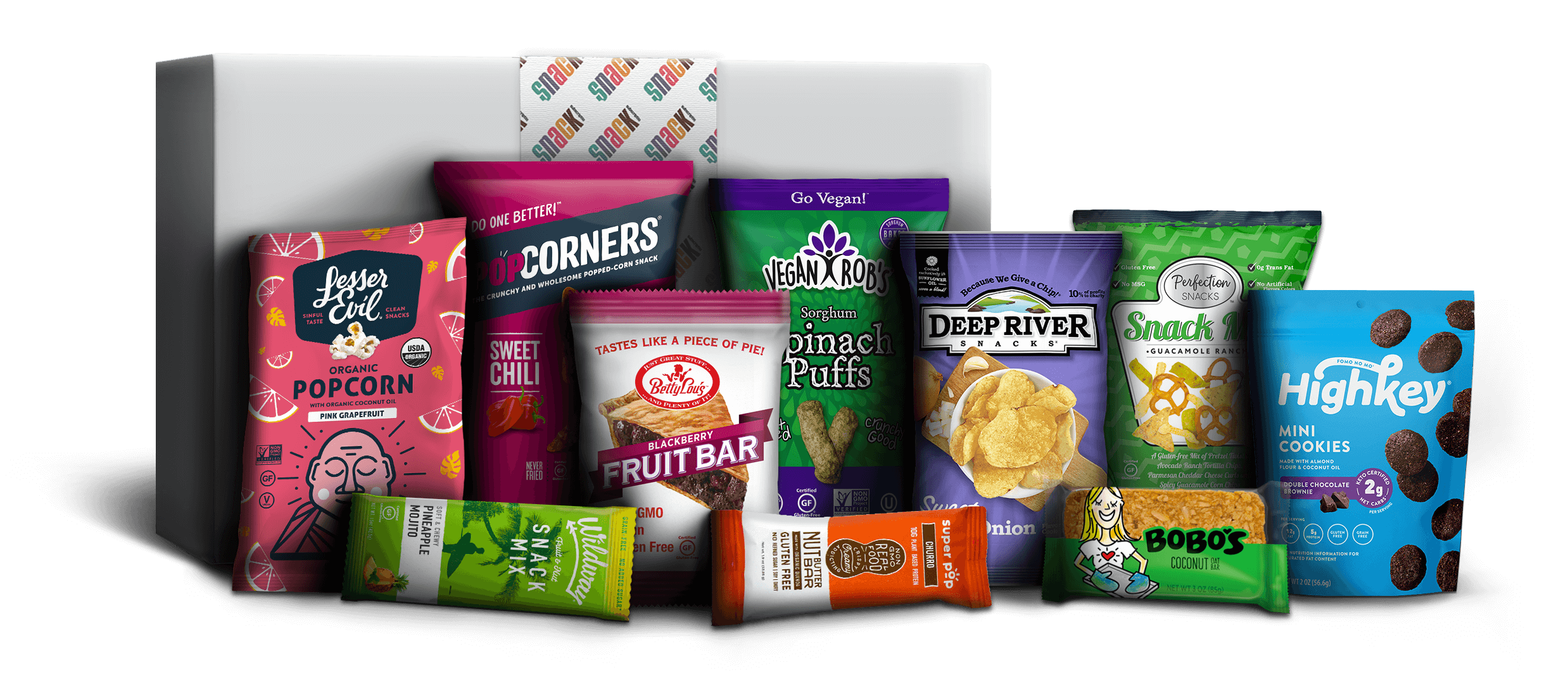 Image of various brightly colored snack packages in red, green, orange, lavender and pink placed in the forefront of the subscription product box.