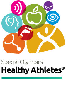 image of the Healthy Athletes logo featuring multicolored spheres with black reversed icons