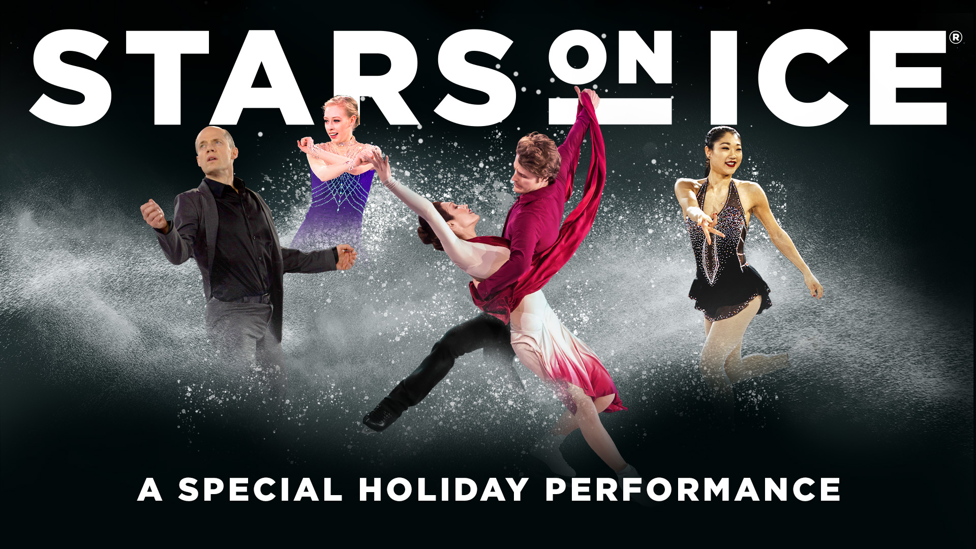 Image of current Stars On Ice skaters overlaying a black background, silouetted by show frosting and sprinkles in white.