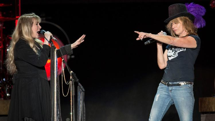 """Chrissie Hynde of the Pretenders joined Nicks for """"Stop Draggin' My Heart Around."""" (Brian van der Brug / Los Angeles Times)"""
