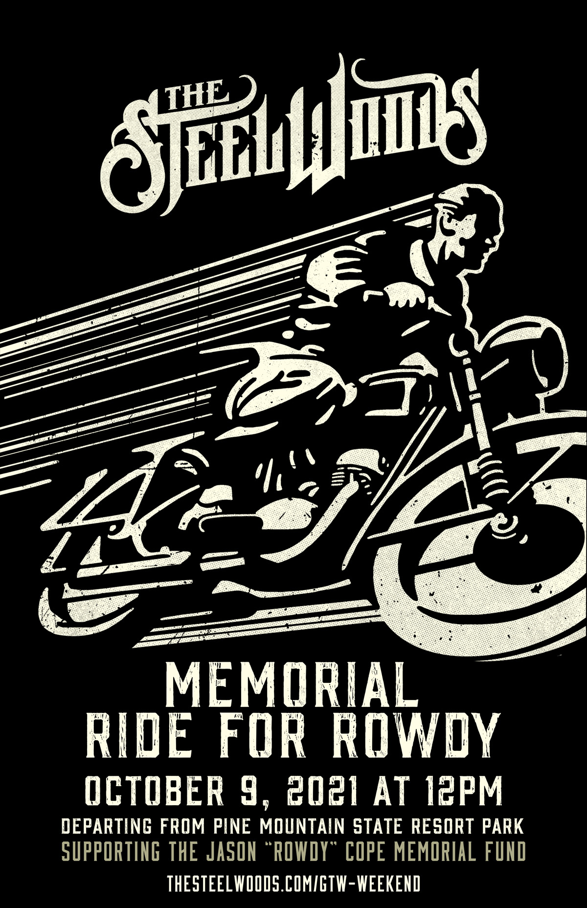 Memorial Ride For Rowdy, October 9, 2021 at 12pm - Departing from Pine Mountain State resort Park - Supporting the Jason Rowdy Cope Memorial Fund