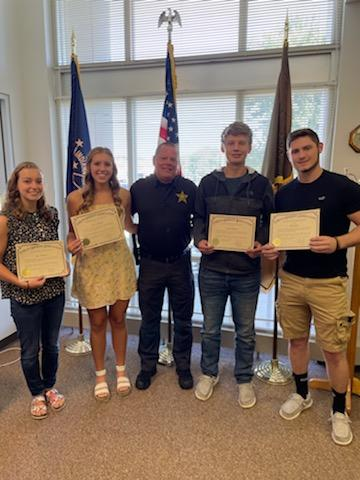 Indiana Sherriff's Association Presents 4 Dubois County Students with Scholarships