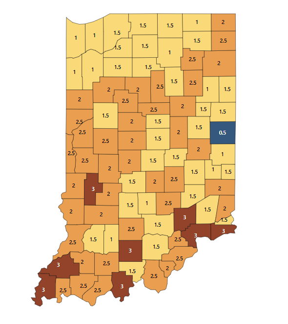 Indiana Posts Over 2,500 New Cases, Eight Counties Under Highest Advisory Level