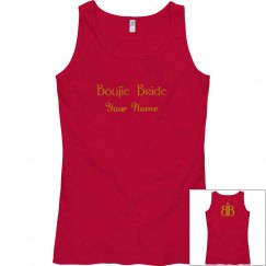 Boujie Bride Name Back Logo Gold and Red Tank