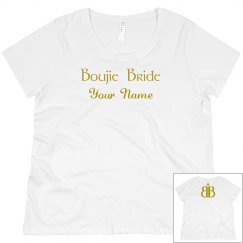 Boujie Bride Name Back Logo Gold and White Plus Size T