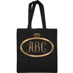 Custom Metallic Monogrammed Bridal Party Tote