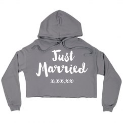 Just Married Custom Hoodie Crop