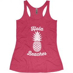 Hola Beaches Pineapple Bachelorette Tank Tops