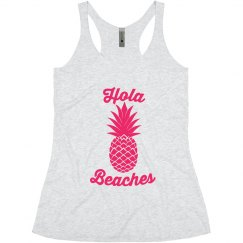 Hola Beaches Pink Print Pineapple Bachelorette Tank Top
