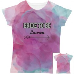 All Over Print Bride to Be Tshirt Watercolor