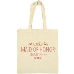 Cute Custom Name Maid Of Honor Tote Bag Gift