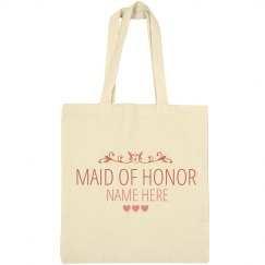 Cute Custom Name Maid Of Honor Tote Bag Gift