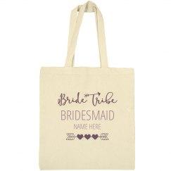 Cute Custom Name Bridesmaid Bride Tribe Tote Bag