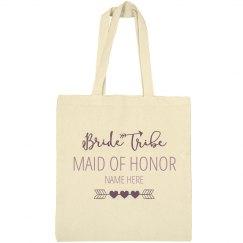 Cute Custom Name Bride Tribe Maid Of Honor Tote Bag