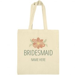Custom Floral Bridesmaid Bag Gift