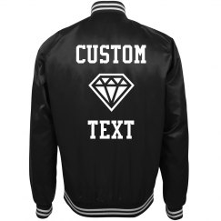 Custom Text Diamond Bride/Bachelorette Bomber Jacket