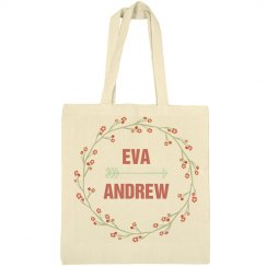 Custom Floral Wreath Wedding Welcome Tote