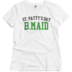 St. Patty's Day Bridesmaid Shamrock text Woman's Tee