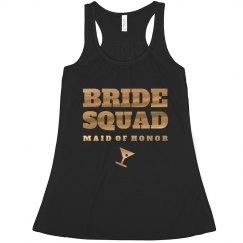 Gold Metallic Bride Squad Tanks