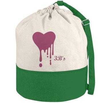 3B's dripping heart beach bag